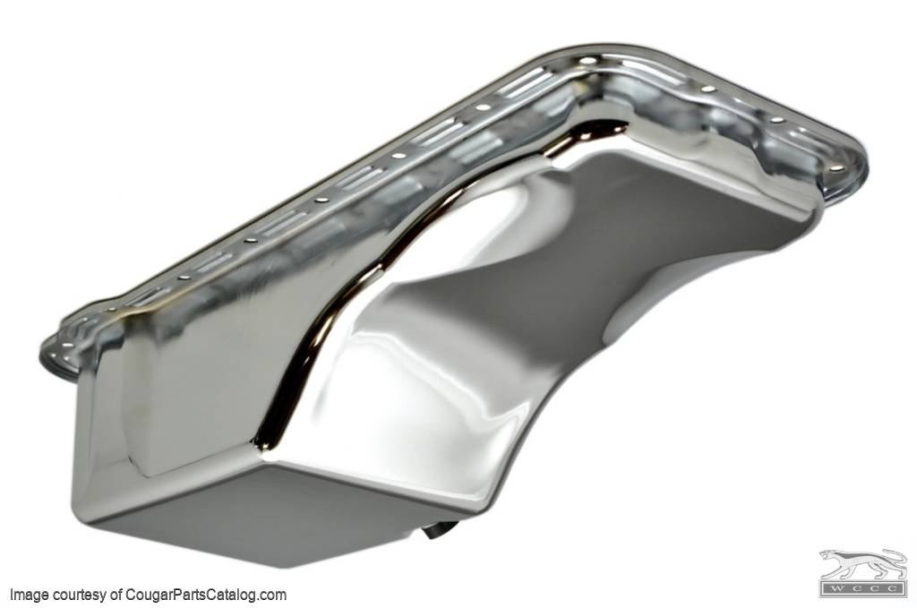 Oil Pan - FE - 390 / 427 / 428 - Chrome - Economy - Repro ~ 1967 - 1970 Mercury Cougar / 1967 - 1970 Ford Mustang - 11360