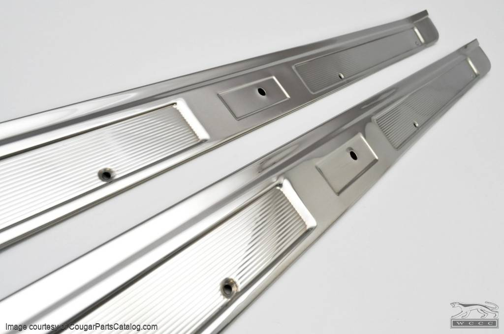 Door Sill Scuff Plates - STAINLESS STEEL - PAIR - Repro ~ 1969 - 1970 Mercury Cougar / 1969 - 1970 Ford Mustang - 25918
