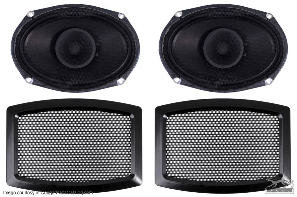 Rear Speaker and Grille Kit - Repro ~ 1967 - 1968 Mercury Cougar / 1967 - 1968 Ford Mustang - 25988