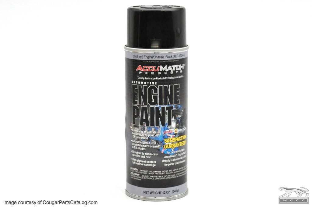 Engine Compartment Paint - High Temperature - BLACK - New ~ 1967 - 1973 Mercury Cougar / 1967 - 1973 Ford Mustang - 14-0071