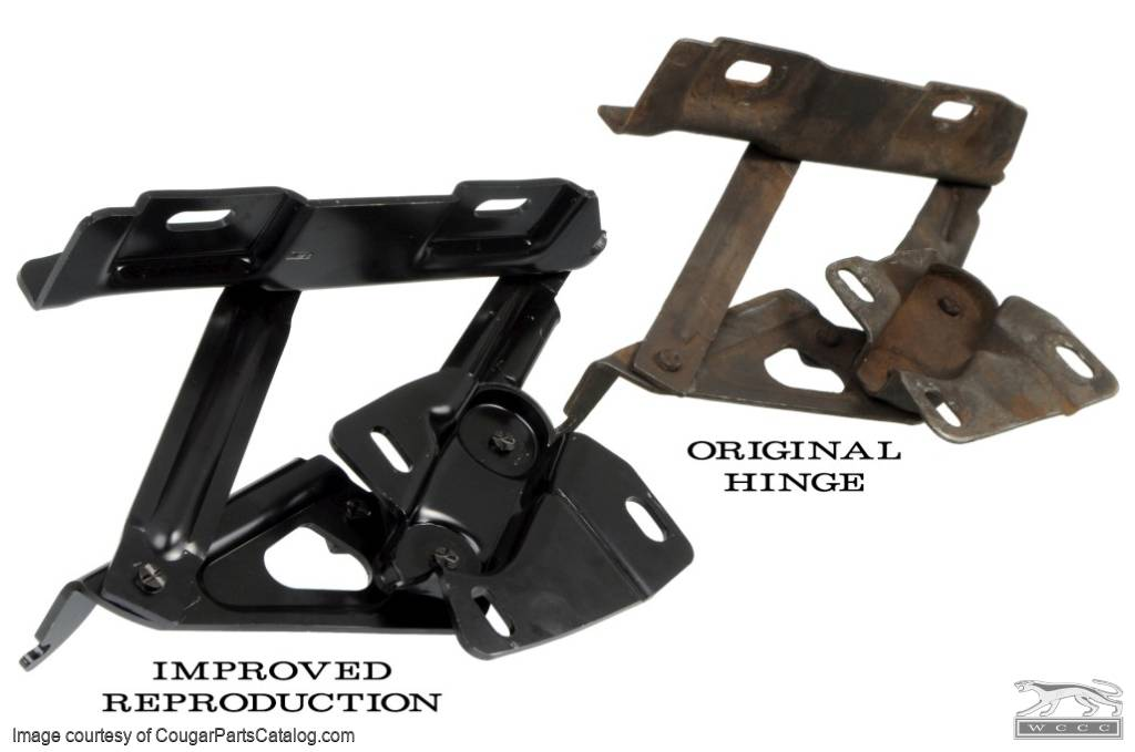 Hood Hinges - Driver and Passenger - PREMIUM - PAIR - Repro ~ 1967 - 1970 Mercury Cougar / 1967 - 1970 Ford Mustang - 11092
