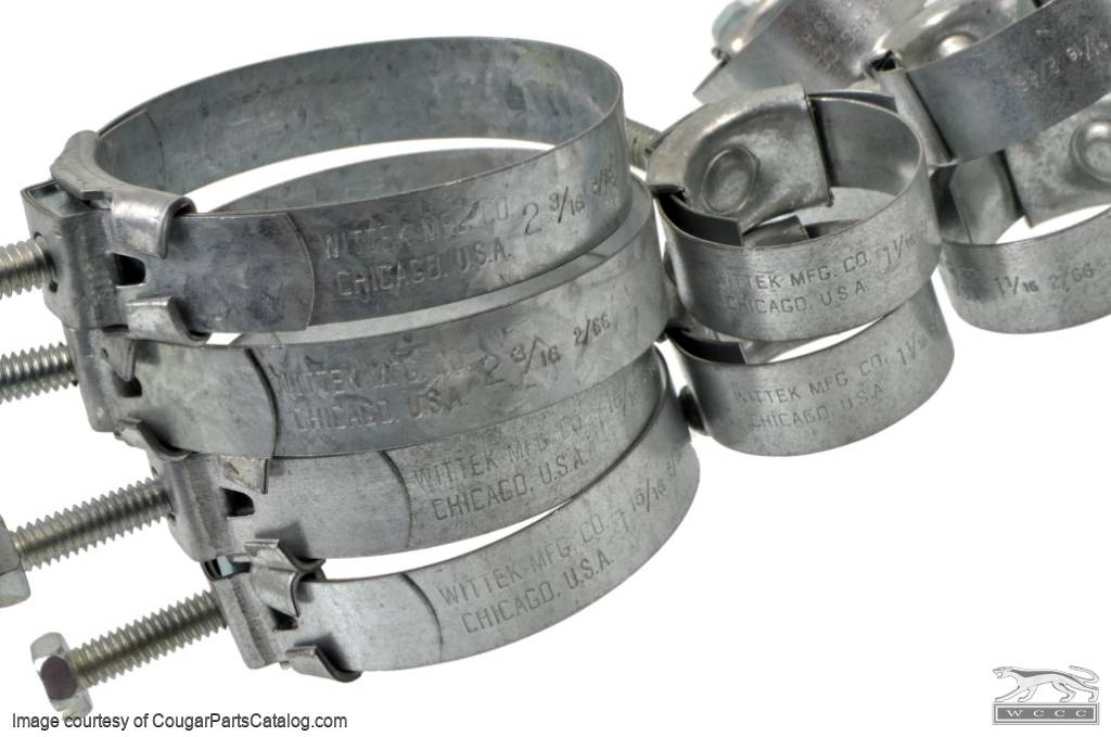 Wittek - 289 - 302 - Tower Hose Clamp Kit - CONCOURS - Date Stamped - SET OF 10 - Repro ~ 1967 Mercury Cougar - 1967 Ford Mustang - 52296
