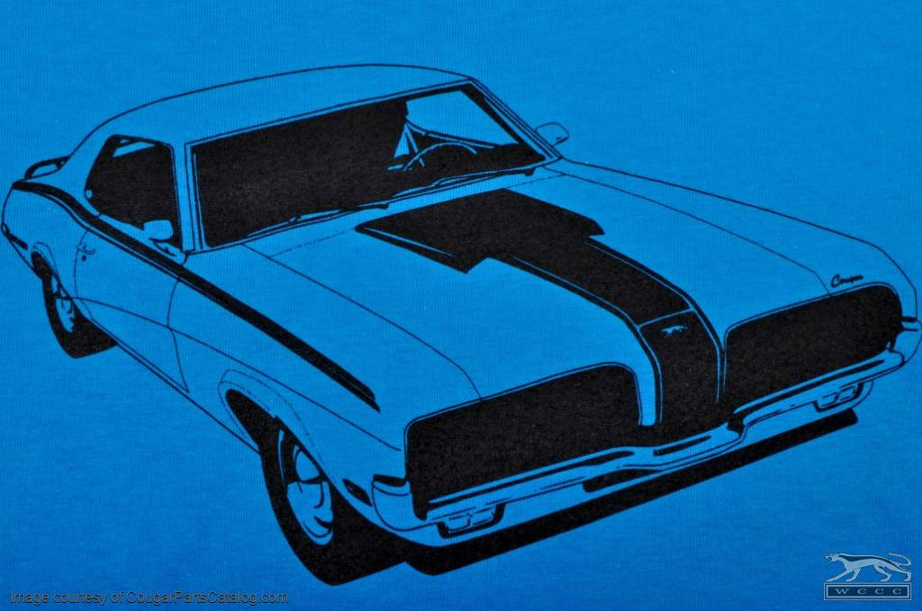 T Shirt - Eliminator - Men's XL - BLUE - New ~ 1967 - 1973 Mercury Cougar - 12-0021