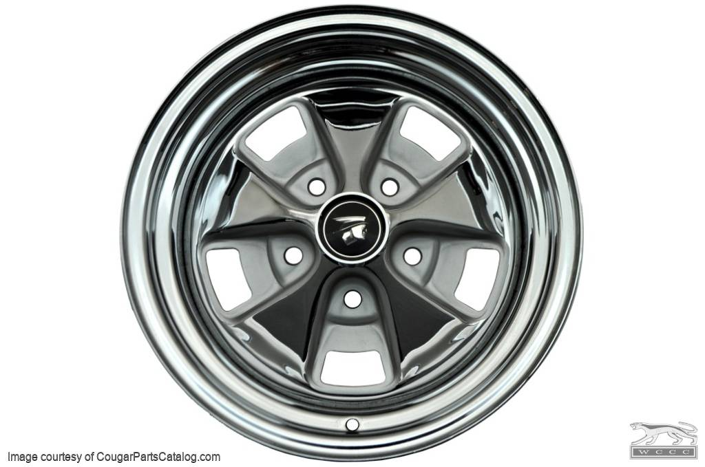 Styled Steel Wheel - 14 X 7 - Chrome Outer Rim - Repro ~ 1967 - 1968 Mercury Cougar - 14743