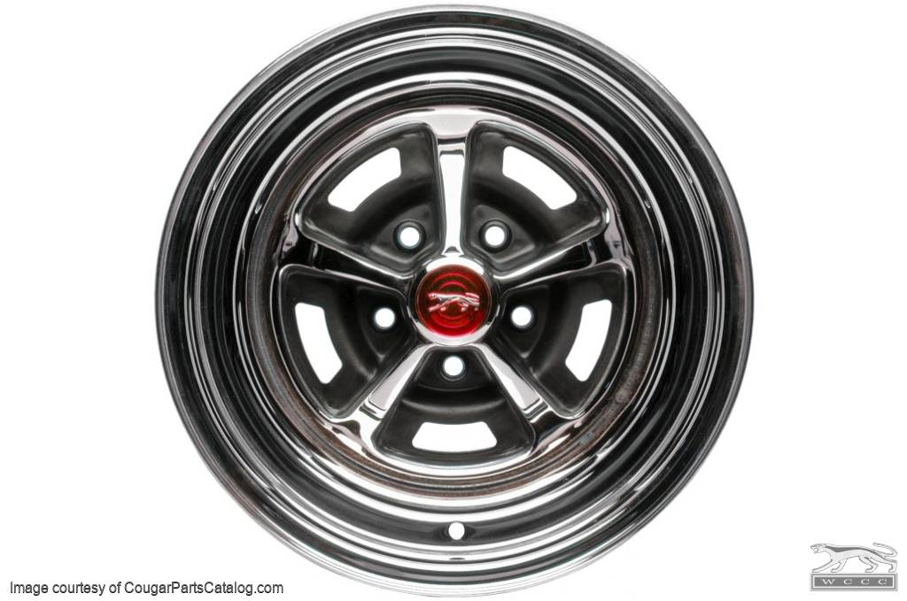 Center Cap - Magnum 500 Wheel - Chrome - RED Center - Walking Cat Logo - EACH - Repro ~ 1967 - 1979 Mercury Cougar - 26246
