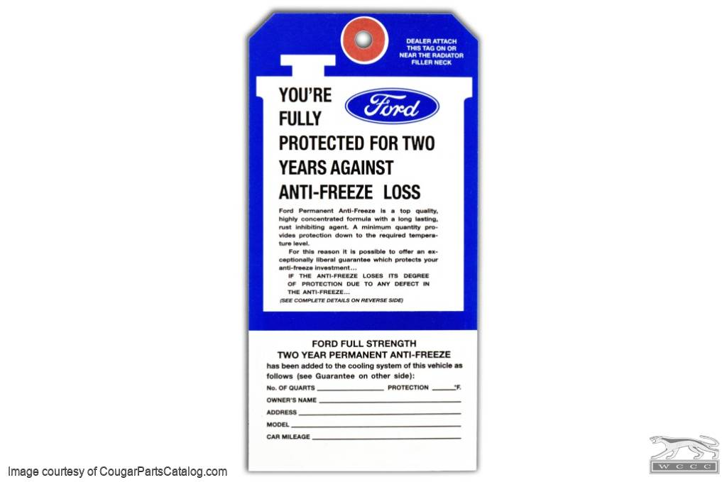 Antifreeze Tag - Repro ~ 1970 - 1973 Mercury Cougar - 1970 - 1973 Ford Mustang - 26363