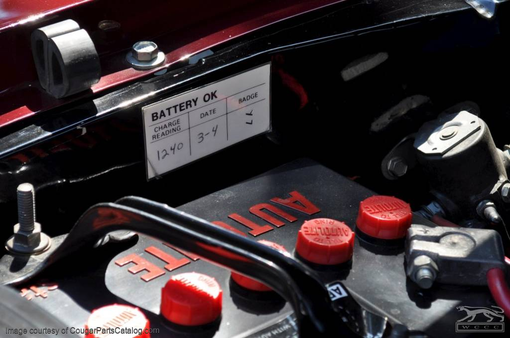 Battery Test OK Decal - Repro ~ 1967 - 1982 Mercury Cougar - 1967 - 1982 Ford Mustang - 26423