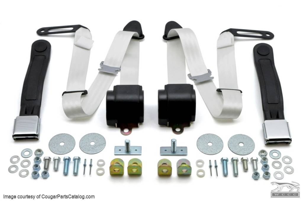 Seat Belts - WHITE - Three Point - Assembly - Pair - Repro ~ 1967 - 1973 Mercury Cougar / 1967 - 1973 Ford Mustang - 26773