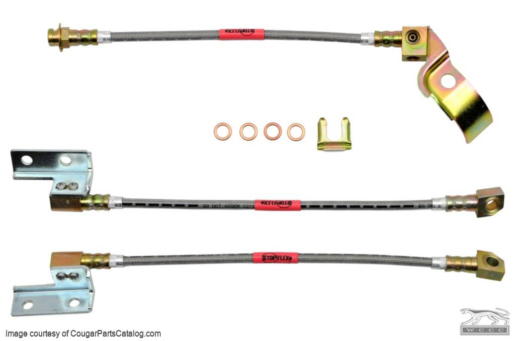 Disc Brake Braided Hose Set - Three Piece - New ~ 1970 Ford Mustang - 41811