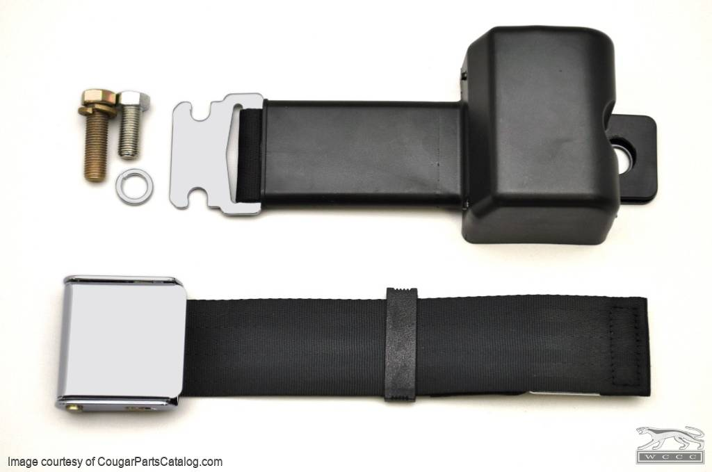 Seat Belt - BLACK - Retractable - Repro ~ 1968 Mercury Cougar / 1968 Ford Mustang - 41824