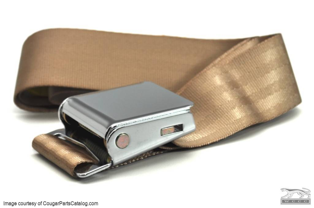 Seat Belt - PARCHMENT / TAUPE - Repro ~ 1967 - 1973 Mercury Cougar - 1967 - 1973 Ford Mustang - 41829