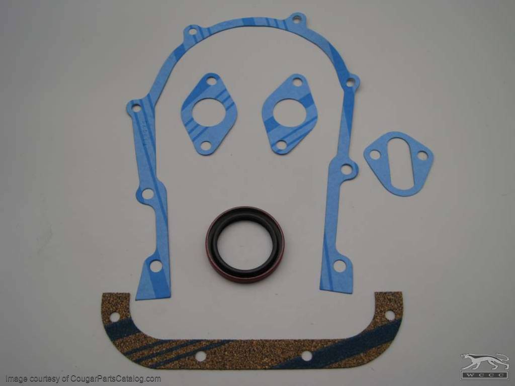 Gasket Set - Timing Cover - 390 / 427 / 428CJ - Repro Fits: 1967 - 1970  Mercury Cougar / 1967 - 1970 Ford Mustang