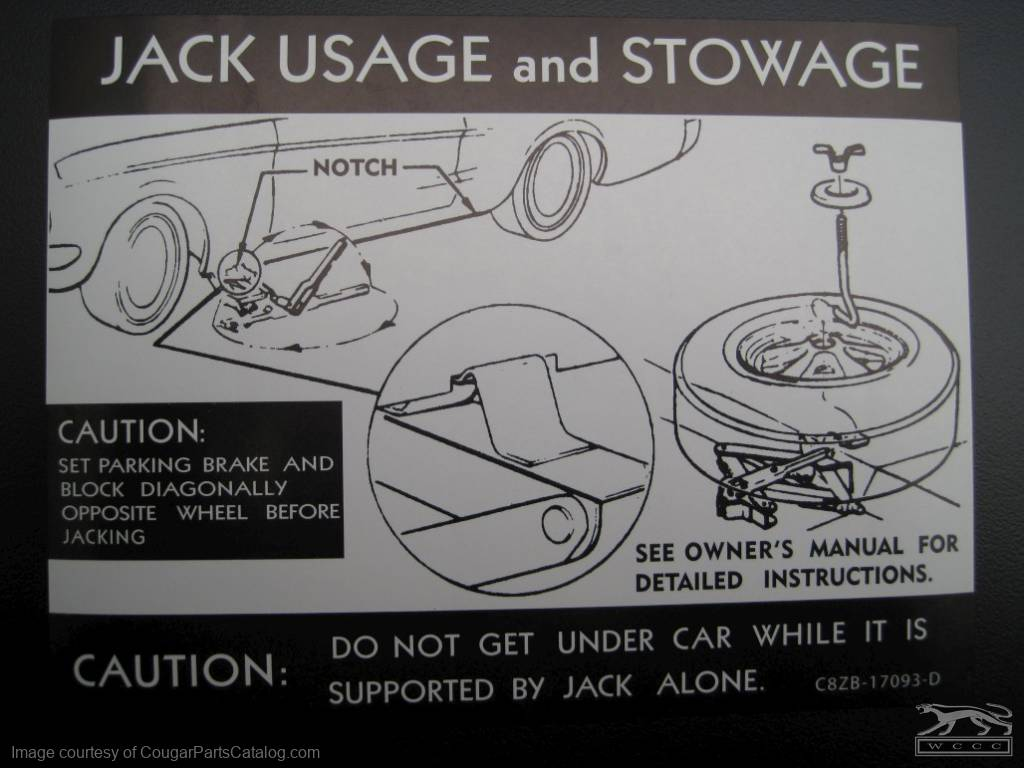 Jack Instructions Decal (with Styled Steel Wheel) - Repro ~ 1968 Mercury Cougar - 1968 Ford Mustang - 10683