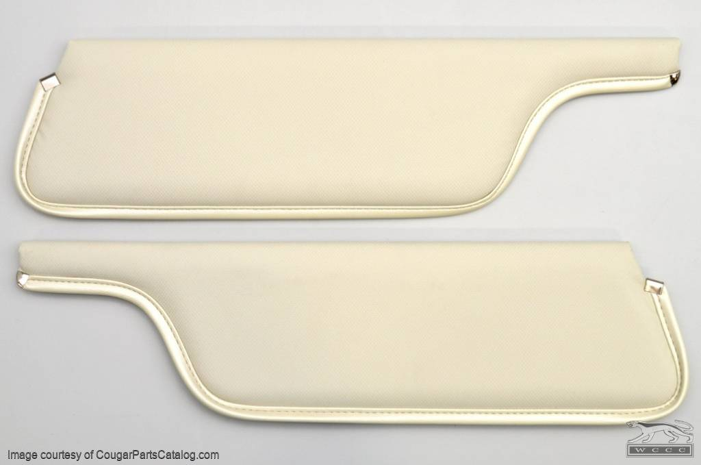 Sun Visor - Vinyl - XR7 Coupe - White - Pair - Repro ~ 1971 - 1973 Mercury Cougar - 42338