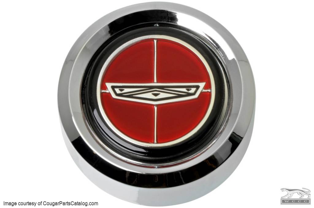 Center Cap  - Magnum 500 Wheel  - Chrome - RED Center - Ford Logo - Set of 4 - Repro ~ 1967 - 1979 Mercury Cougar / 1967 - 1979 Ford Fairlane / 1967 - 1979 Ford Torino - 42401