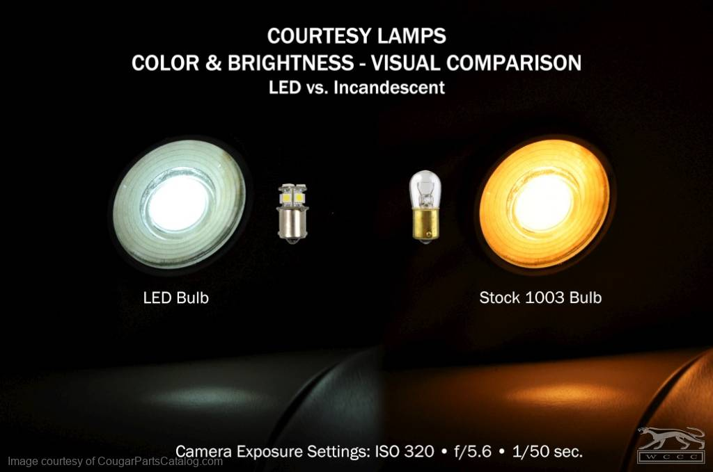 LED - Cool White - Single Post - Replacement Bulb - Courtesy Lights - EACH - Repro ~ 1967 - 1973 Mercury Cougar / 1967 - 1973 Ford Mustang - 10029