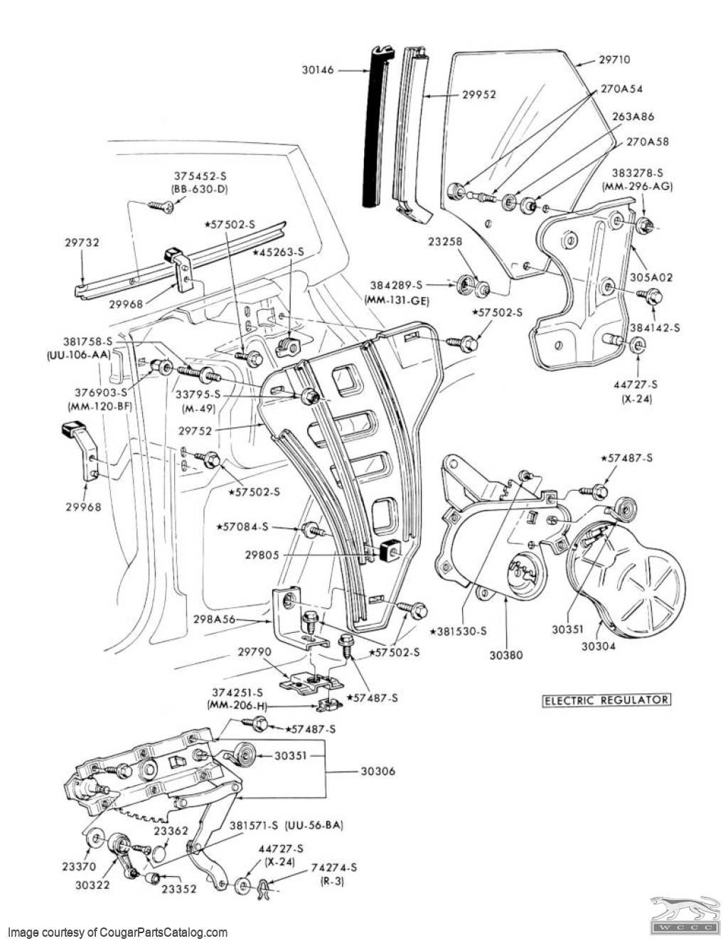 Support Bracket - Lower Quarter Window Guide Bracket - Used ~ 1971 - 1973 Mercury Cougar / 1971 - 1973 Ford Mustang - 11-0398