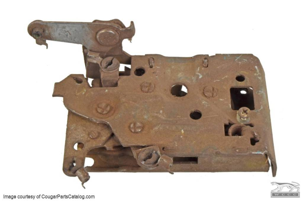 Door Latch Mechanism - Left Hand / Driver Side - Used ~ 1971 - 1973 Mercury Cougar / 1971 - 1973 Ford Mustang - 11-0437