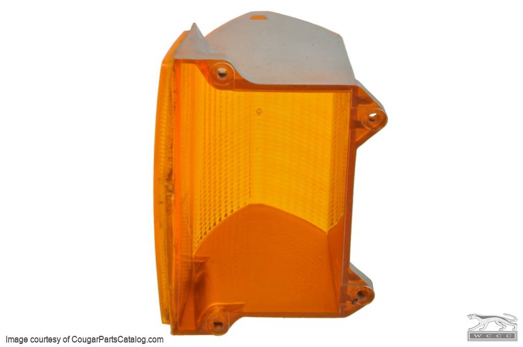 Lens - Turn Signal / Parking Light - Front - Driver Side - Grade B - Used  ~ 1971 - 1972 Mercury Cougar - 12336
