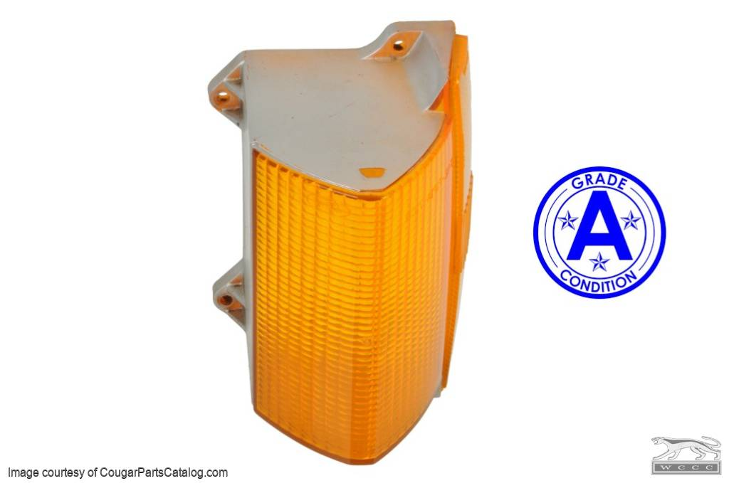 Lens - Turn Signal / Parking Light - Front - Driver Side - Grade A - Used  ~ 1971 - 1972 Mercury Cougar - 11984