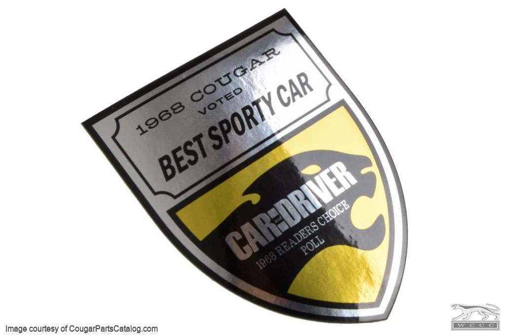 Decal - Window - 1968 Car and Driver Best Sporty Car - Repro ~ 1968 Mercury Cougar  - 12-0069