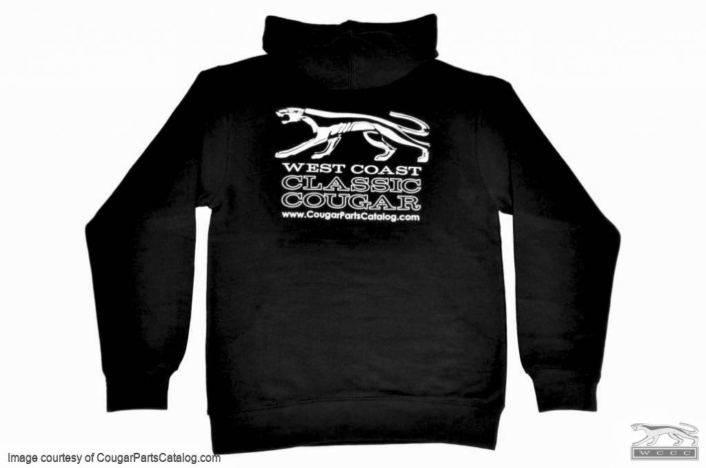 Sweatshirt - Black Hooded Pullover - WCCC - Men's SMALL - New ~ 1967 - 1973 Mercury Cougar - 12-0070