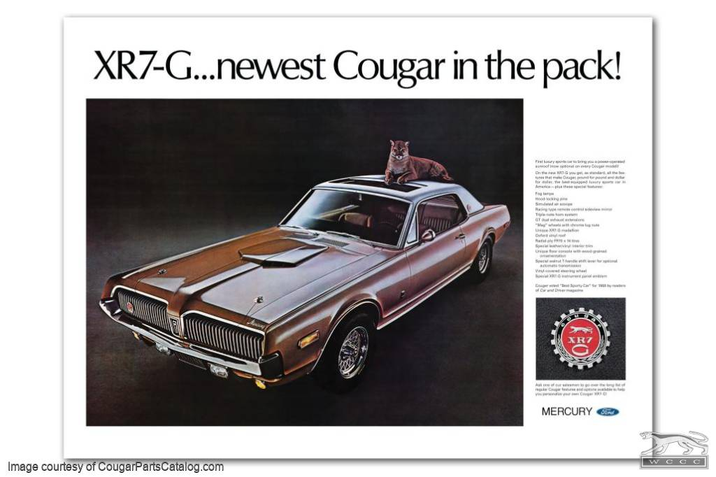 """Poster - XR7-G - Dealer Showroom - Concours - w/ """"Couger"""" Typo - LARGE - 36"""" X 48"""" - Repro ~ 1968 Mercury Cougar  - 12-1003"""