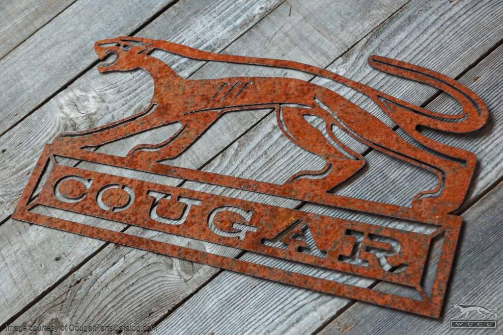 "COUGAR Walking Cat Sign - Rusty Laser Cut Steel - 24"" x 13"" - New ~ 1967 - 1973 Mercury Cougar - 12-1030"