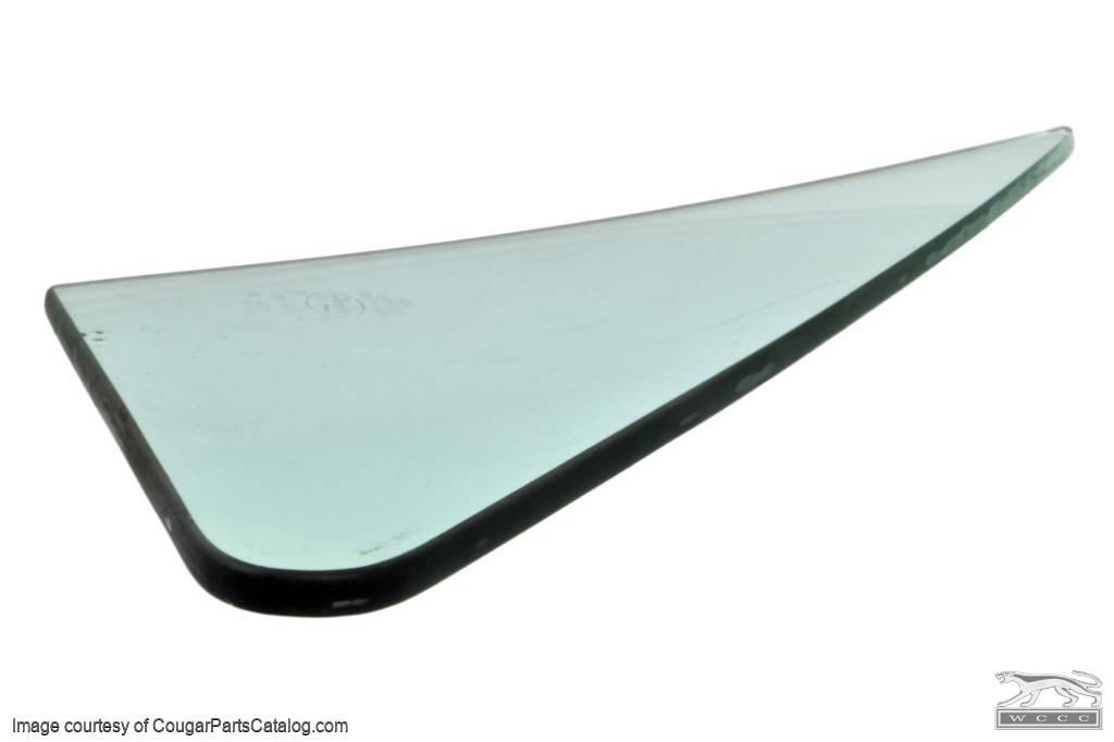 Door Vent Glass - TINT - Driver Side - Grade A - Used ~ 1967 - 1968 Mercury Cougar / 1965 - 1968 Ford Mustang - 12043