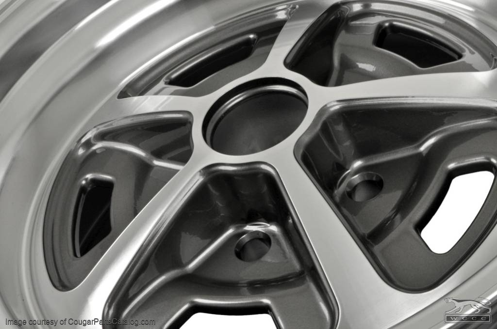 Legendary Magnum 500 - Aluminum Wheel - 15 X 7 - Charcoal Finish - Repro ~ 1967 - 1973 Mercury Cougar - 1967 - 1973 Ford Mustang  - 12980