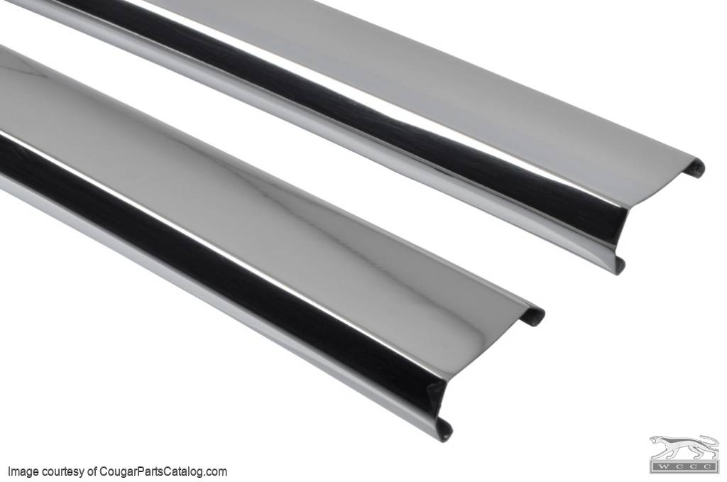Moulding / Trim - Center Sections - Convertible Top - PAIR - Restored ~ 1969 - 1970 Mercury Cougar / 1969 - 1970 Ford Mustang - 13082