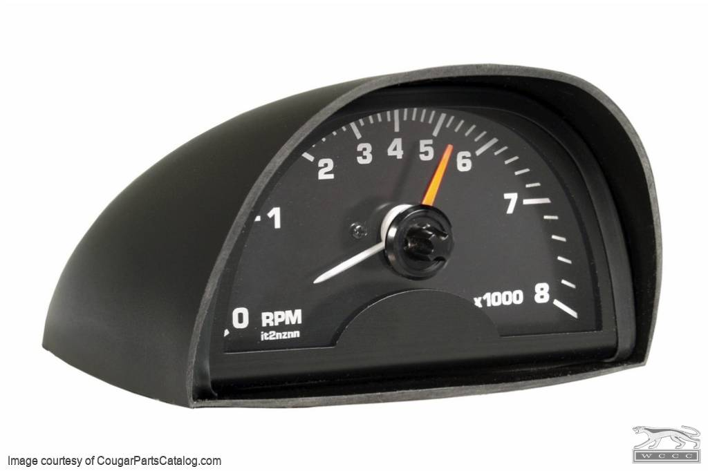 Tachometer - Hood Mounted - 8000 RPM - Black Face - New ~ 1967 - 1973 Mercury Cougar / 1967 - 1973 Ford Mustang - 13781