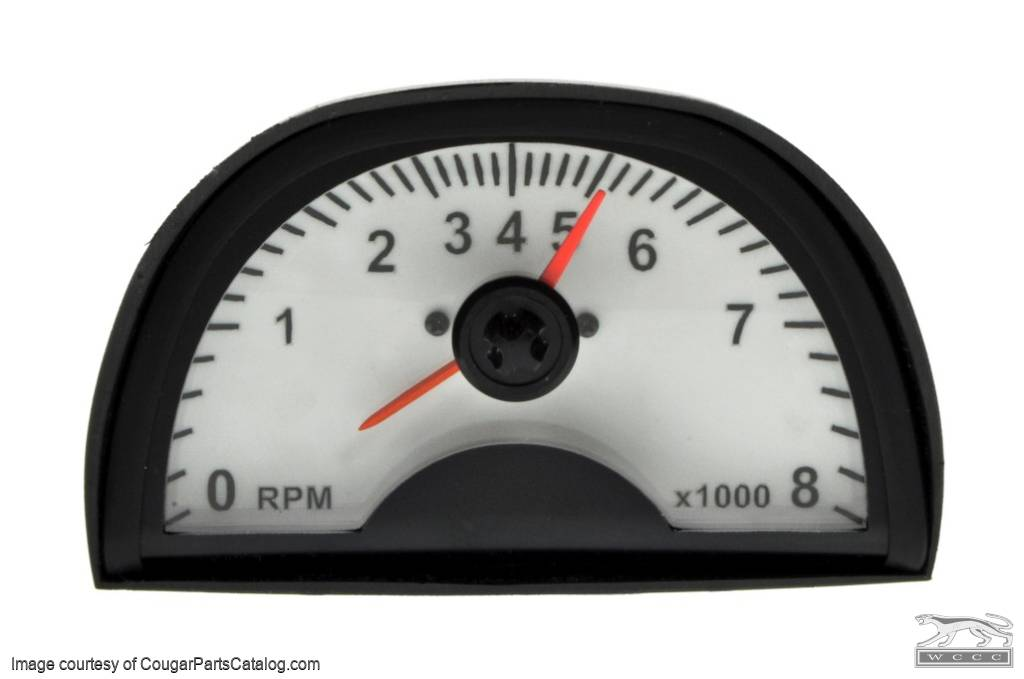 Tachometer - Hood Mounted - 8000 RPM - White Face - New ~ 1967 - 1973 Mercury Cougar / 1967 - 1973 Ford Mustang - 13792