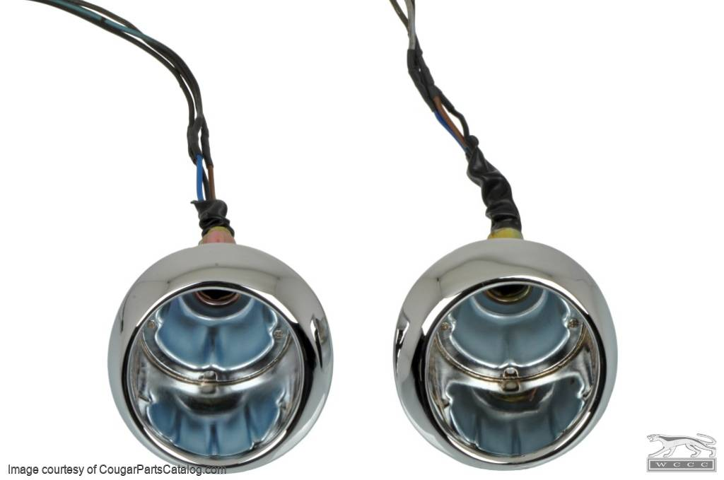 Front Turn Signal / Parking Light - Complete Assembly - Correct Original Cougar Wiring - PAIR - Repro ~ 1967 - 1968 Mercury Cougar - 13822