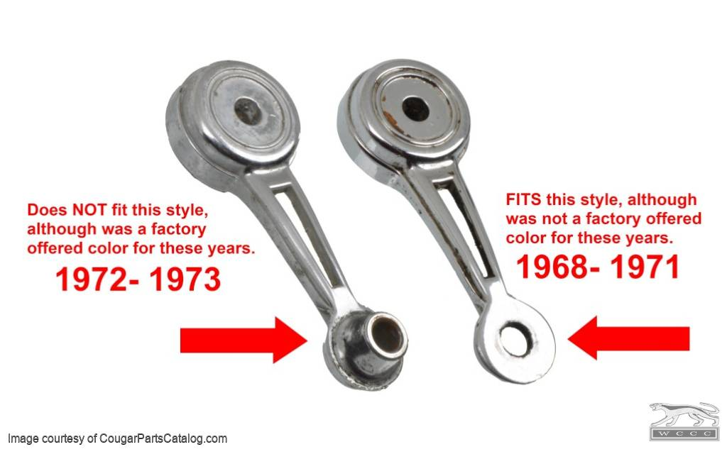 Window Crank Knob - CLEAR - Repro ~ 1968 - 1971 Mercury Cougar / 1968 - 1971 Ford Mustang - 13898