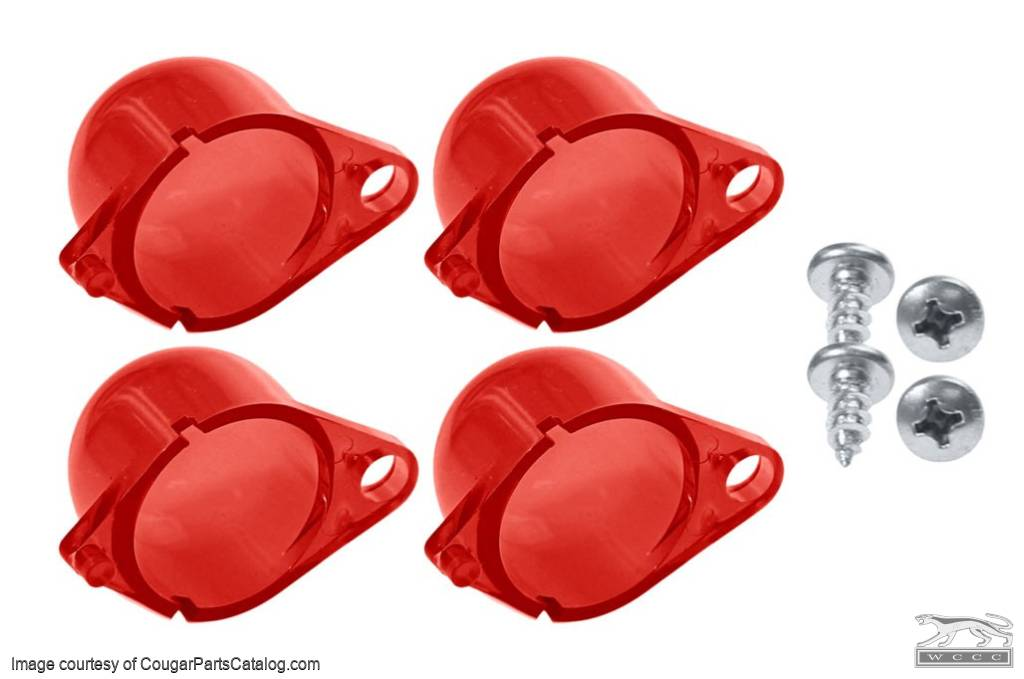 Light Diffusers - Instrument Panel - RED - Set of 4 - New ~ 1967 - 1970 Mercury Cougar / 1967 - 1970 Ford Mustang - 13918