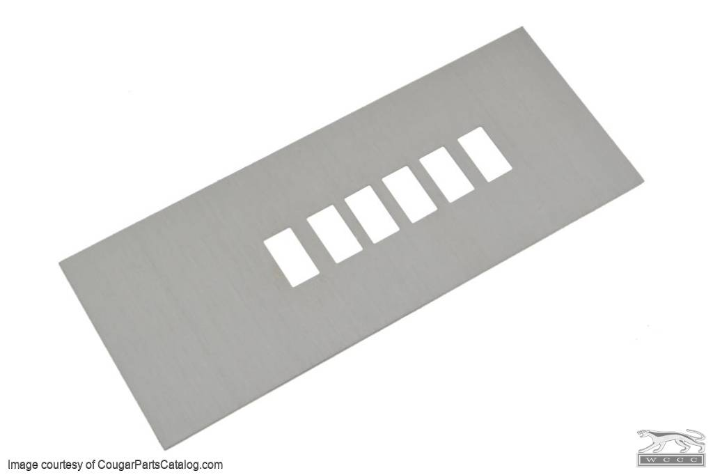 Console Overlay - Shift Indicator Plate - Aluminum - Repro ~ 1967 - 1968 Mercury Cougar / 1967 - 1968 Ford Mustang - 13925