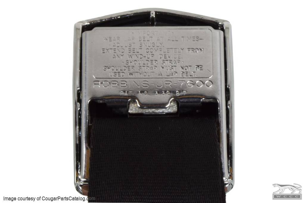 Seat Belt Set - BLACK - Deluxe - CONVERTIBLE - Grade A - Used ~ 1969 Mercury Cougar / 1969 Ford Mustang - 14-1019