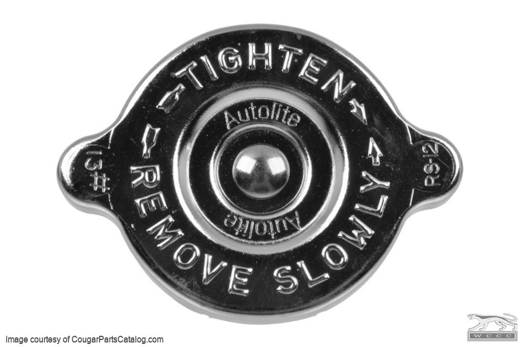 Radiator Cap - Chrome - CONCOURS CORRECT - Repro ~ 1967 - 1971 Mercury Cougar / 1967 - 1971 Ford Mustang - 14179