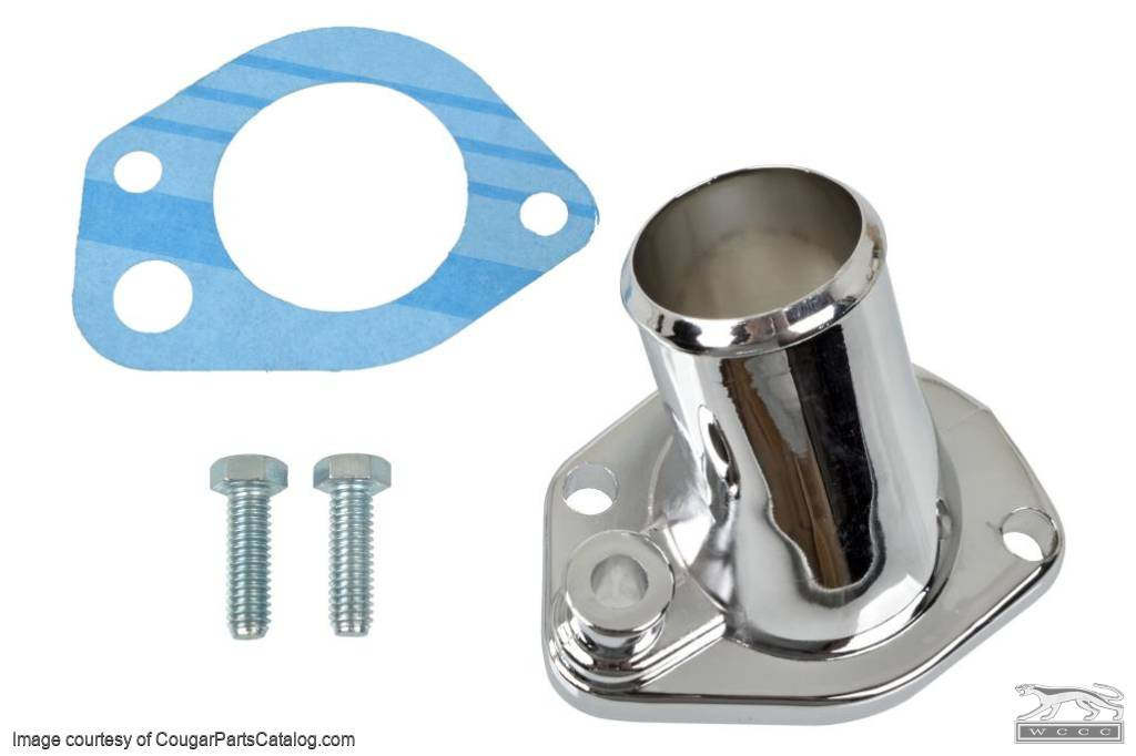 Thermostat Housing - 289 / 302 / 351W - CHROME - Repro ~ 1967 - 1971 Mercury Cougar / 1967 - 1971 Ford Mustang - 14300
