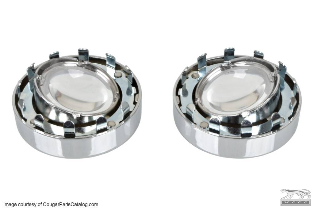 Map Light Lenses / Bezels - Overhead Console - PAIR - Repro ~ 1967 - 1968 Mercury Cougar XR7 / 1967 - 1968 Ford Mustang - 14376