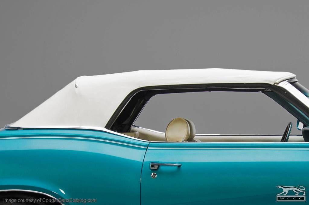 Convertible Top - Single Texture Vinyl - WHITE - w/ Plastic Window - Repro ~ 1969 - 1970 Mercury Cougar / 1969 - 1970 Ford Mustang - 14611