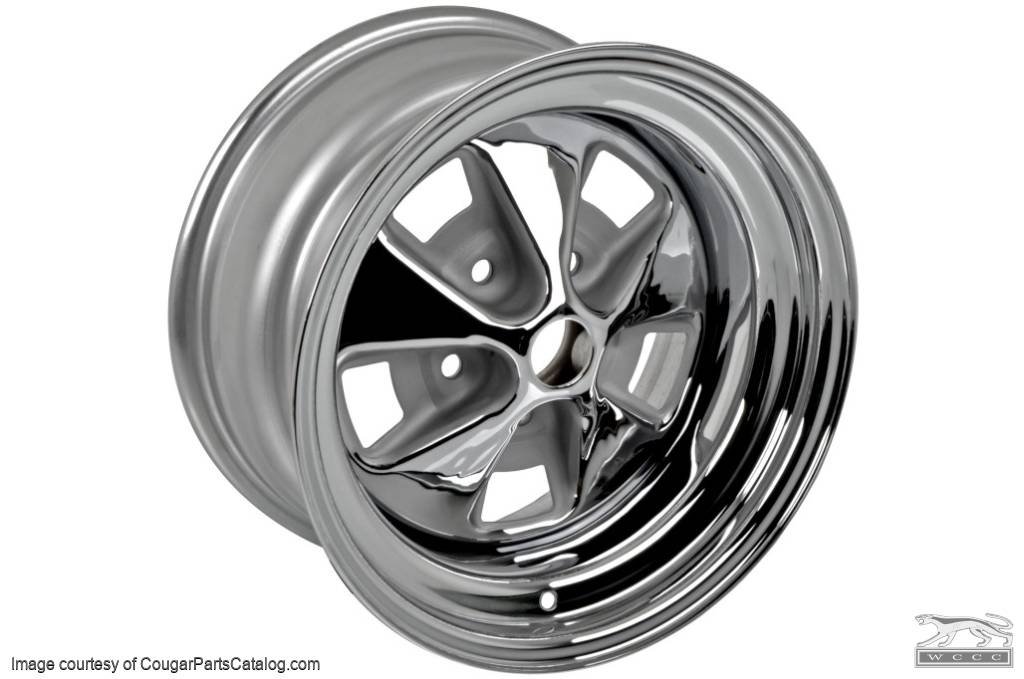 Styled Steel Wheel - 15 X 7 - Chrome Outer Rim - Repro ~ 1967 - 1968 Mercury Cougar - 14746