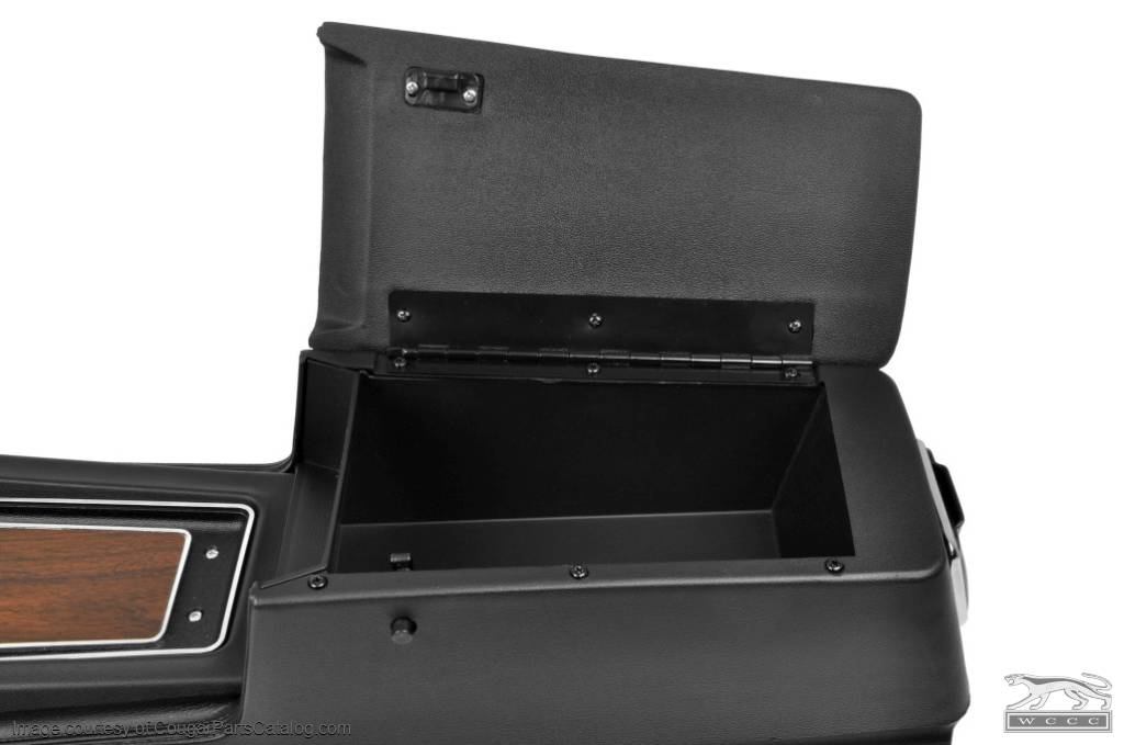 Center Console - w/ Woodgrain Insert - Flat Lid - Manual Transmission - Repro ~ 1970 Mercury Cougar / 1970 Ford Mustang - 14747