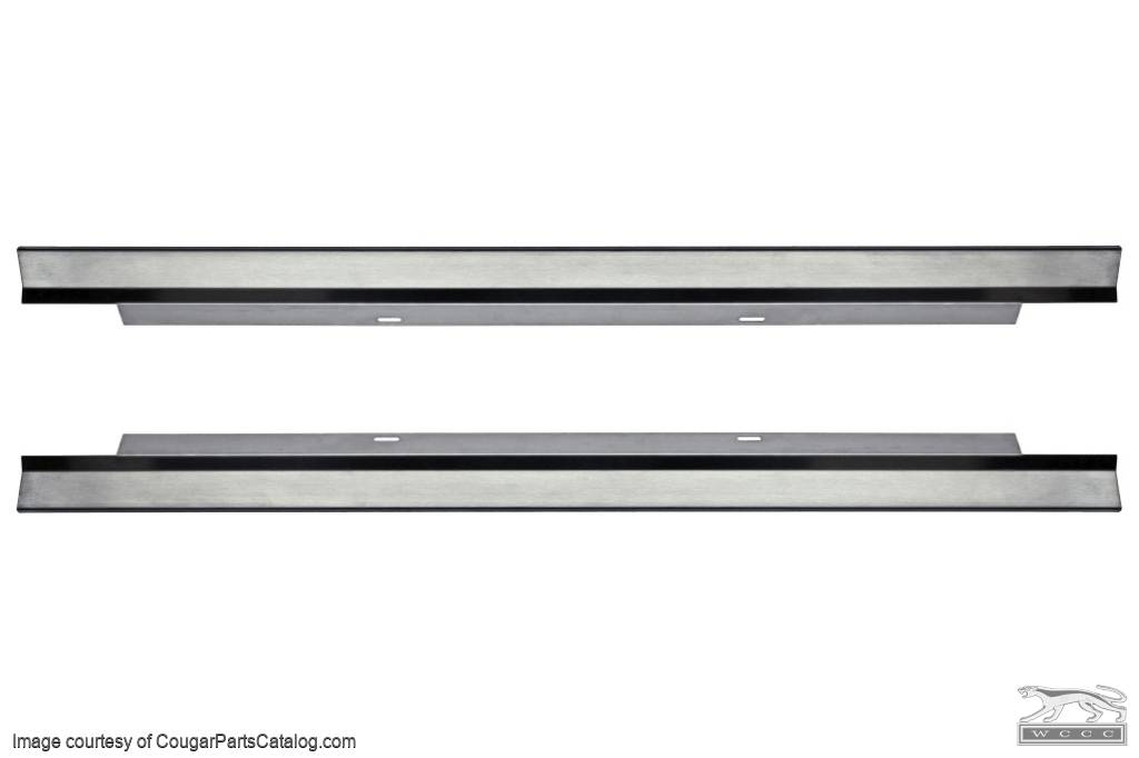 Interior Rocker Scuff Plates - Accessory Plates - STAINLESS STEEL - PAIR - Repro ~ 1967 - 1968 Mercury Cougar / 1967 - 1968 Ford Mustang - 14767