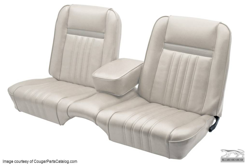 Vinyl Interior Upholstery - Standard / Decor - PARCHMENT / OFF-WHITE - Front Bench - Front Set - Repro ~ 1968 Mercury Cougar  - 18894