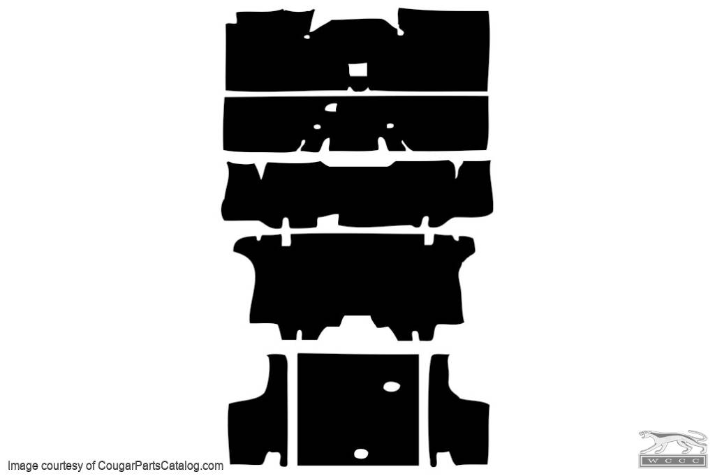 Sound Barrier Underlay - Convertible - OEM STYLE - Complete 7 Piece Kit - Repro ~ 1969 - 1970 Mercury Cougar