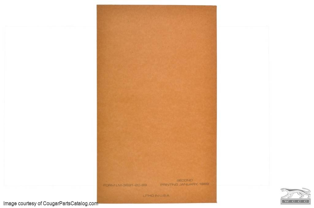 Owners Manual - Repro ~ 1969 Mercury Cougar - 15533