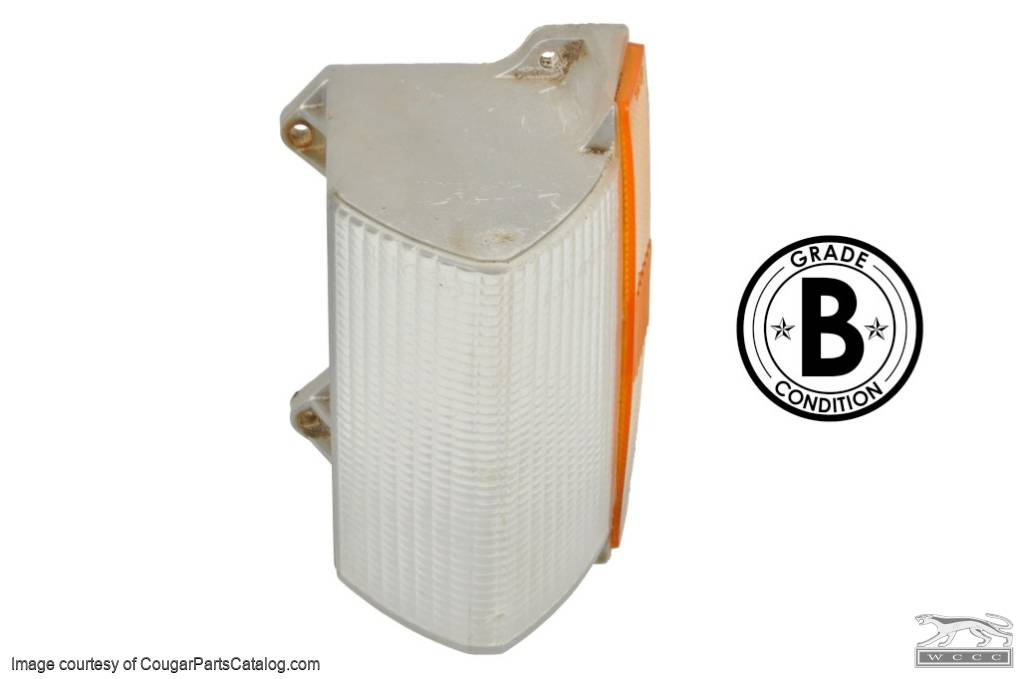 Lens - Turn Signal / Parking Light - Front - Driver Side - Grade B - Used  ~ 1973 Mercury Cougar - 15807