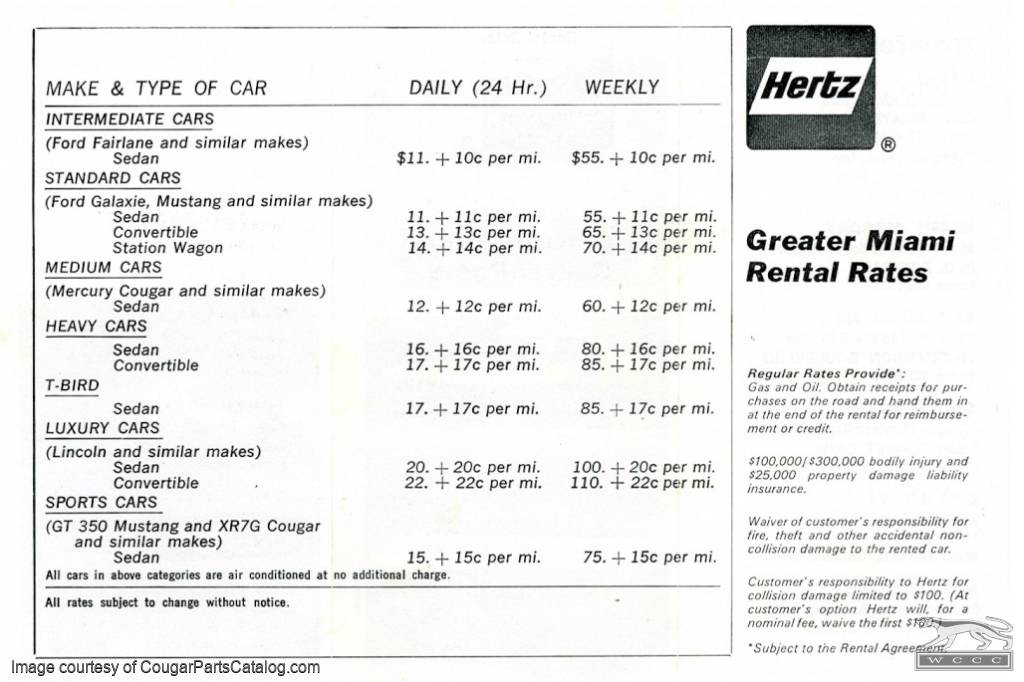 Hertz Rental Car Brochure 1969 Ford Cars Used 1968 Mercury